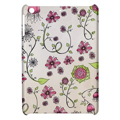 Pink Whimsical flowers on beige Apple iPad Mini Hardshell Case