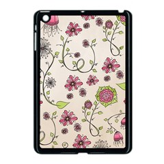 Pink Whimsical Flowers On Beige Apple Ipad Mini Case (black)
