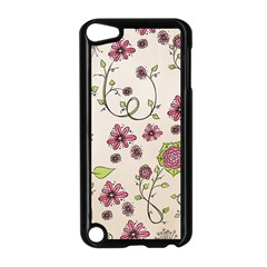 Pink Whimsical flowers on beige Apple iPod Touch 5 Case (Black)