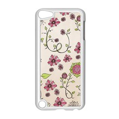 Pink Whimsical Flowers On Beige Apple Ipod Touch 5 Case (white)