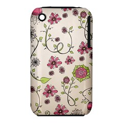 Pink Whimsical flowers on beige Apple iPhone 3G/3GS Hardshell Case (PC+Silicone)