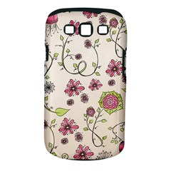 Pink Whimsical Flowers On Beige Samsung Galaxy S Iii Classic Hardshell Case (pc+silicone)