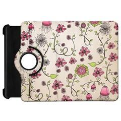 Pink Whimsical flowers on beige Kindle Fire HD 7  (1st Gen) Flip 360 Case