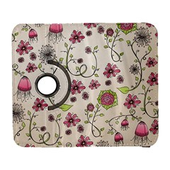 Pink Whimsical flowers on beige Samsung Galaxy S  III Flip 360 Case