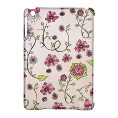 Pink Whimsical Flowers On Beige Apple Ipad Mini Hardshell Case (compatible With Smart Cover)