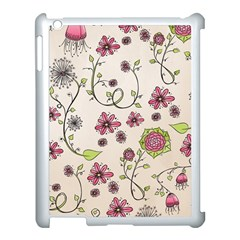 Pink Whimsical flowers on beige Apple iPad 3/4 Case (White)