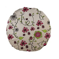 Pink Whimsical Flowers On Beige 15  Premium Round Cushion