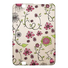 Pink Whimsical flowers on beige Kindle Fire HD 8.9  Hardshell Case