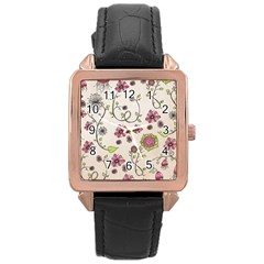 Pink Whimsical flowers on beige Rose Gold Leather Watch