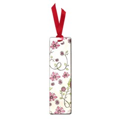 Pink Whimsical Flowers On Beige Small Bookmark