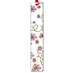 Pink Whimsical flowers on beige Large Bookmark