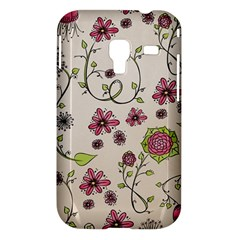 Pink Whimsical flowers on beige Samsung Galaxy Ace Plus S7500 Hardshell Case