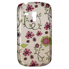 Pink Whimsical Flowers On Beige Samsung Galaxy S3 Mini I8190 Hardshell Case