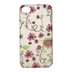 Pink Whimsical Flowers On Beige Apple Iphone 4/4s Hardshell Case With Stand