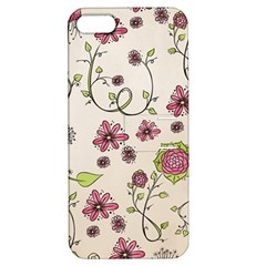 Pink Whimsical Flowers On Beige Apple Iphone 5 Hardshell Case With Stand