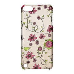 Pink Whimsical Flowers On Beige Apple Ipod Touch 5 Hardshell Case With Stand