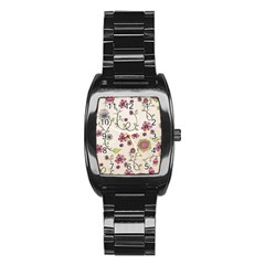 Pink Whimsical flowers on beige Stainless Steel Barrel Watch