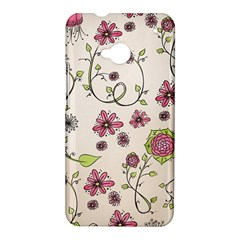 Pink Whimsical flowers on beige HTC One Hardshell Case