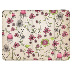 Pink Whimsical flowers on beige Samsung Galaxy Tab 7  P1000 Flip Case