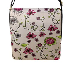 Pink Whimsical flowers on beige Flap Closure Messenger Bag (Large)