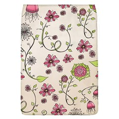 Pink Whimsical flowers on beige Removable Flap Cover (Large)