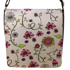 Pink Whimsical flowers on beige Flap Closure Messenger Bag (Small)