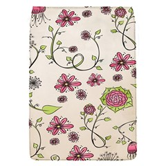 Pink Whimsical flowers on beige Removable Flap Cover (Small)