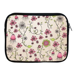Pink Whimsical flowers on beige Apple iPad Zippered Sleeve