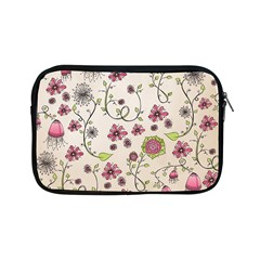 Pink Whimsical flowers on beige Apple iPad Mini Zippered Sleeve