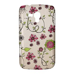 Pink Whimsical flowers on beige Samsung Galaxy Duos I8262 Hardshell Case