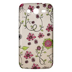Pink Whimsical flowers on beige Samsung Galaxy Mega 5.8 I9152 Hardshell Case