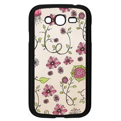 Pink Whimsical flowers on beige Samsung Galaxy Grand DUOS I9082 Case (Black)
