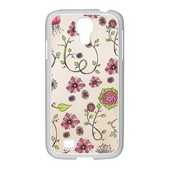 Pink Whimsical flowers on beige Samsung GALAXY S4 I9500/ I9505 Case (White)