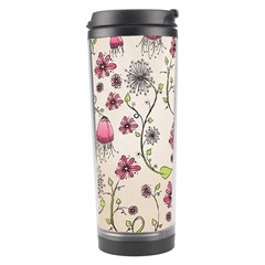 Pink Whimsical flowers on beige Travel Tumbler