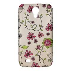 Pink Whimsical Flowers On Beige Samsung Galaxy Mega 6 3  I9200 Hardshell Case