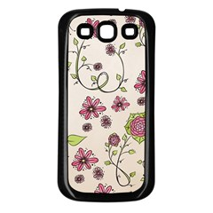 Pink Whimsical flowers on beige Samsung Galaxy S3 Back Case (Black)
