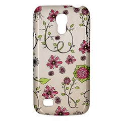 Pink Whimsical Flowers On Beige Samsung Galaxy S4 Mini (gt I9190) Hardshell Case