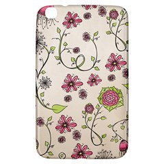 Pink Whimsical flowers on beige Samsung Galaxy Tab 3 (8 ) T3100 Hardshell Case