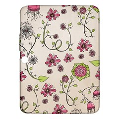 Pink Whimsical Flowers On Beige Samsung Galaxy Tab 3 (10 1 ) P5200 Hardshell Case