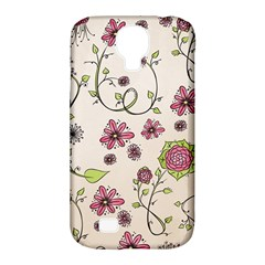 Pink Whimsical flowers on beige Samsung Galaxy S4 Classic Hardshell Case (PC+Silicone)