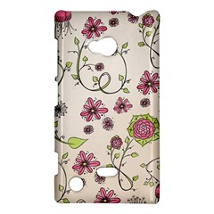 Pink Whimsical Flowers On Beige Nokia Lumia 720 Hardshell Case