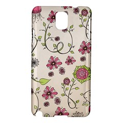 Pink Whimsical flowers on beige Samsung Galaxy Note 3 N9005 Hardshell Case