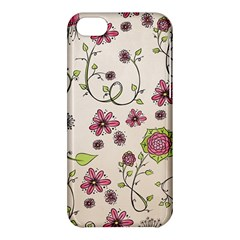 Pink Whimsical flowers on beige Apple iPhone 5C Hardshell Case