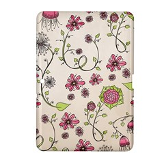 Pink Whimsical Flowers On Beige Samsung Galaxy Tab 2 (10 1 ) P5100 Hardshell Case
