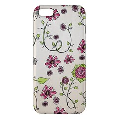 Pink Whimsical flowers on beige iPhone 5S Premium Hardshell Case