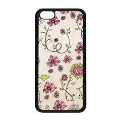 Pink Whimsical flowers on beige Apple iPhone 5C Seamless Case (Black)