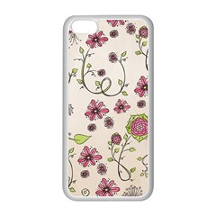 Pink Whimsical flowers on beige Apple iPhone 5C Seamless Case (White)