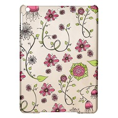 Pink Whimsical flowers on beige Apple iPad Air Hardshell Case