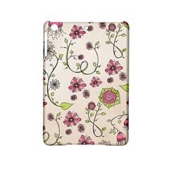 Pink Whimsical flowers on beige Apple iPad Mini 2 Hardshell Case