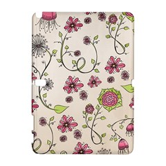Pink Whimsical flowers on beige Samsung Galaxy Note 10.1 (P600) Hardshell Case